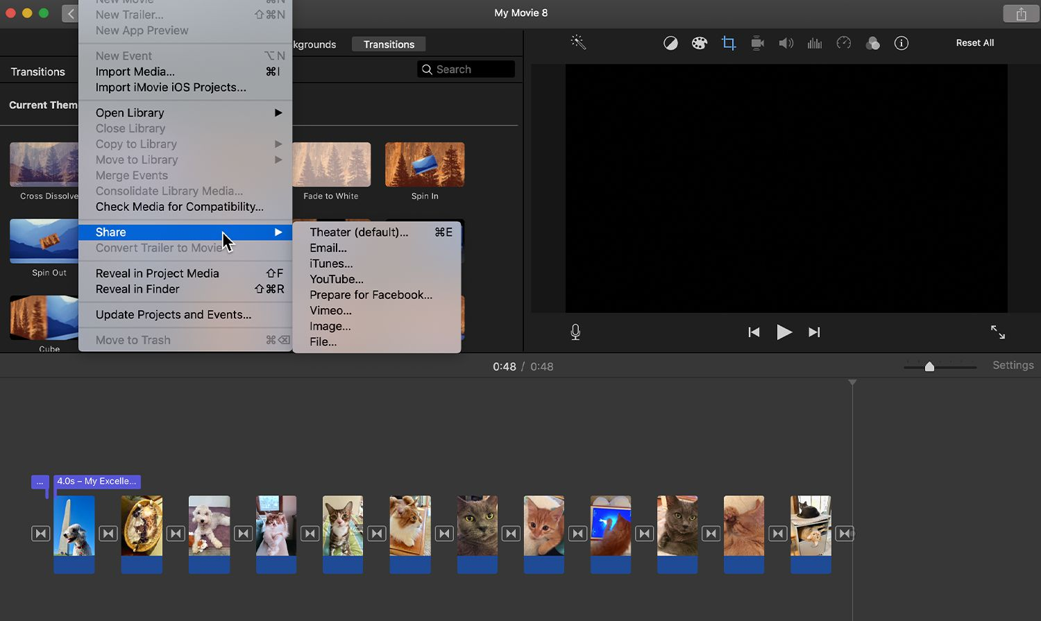 Options for sharing the photomontage