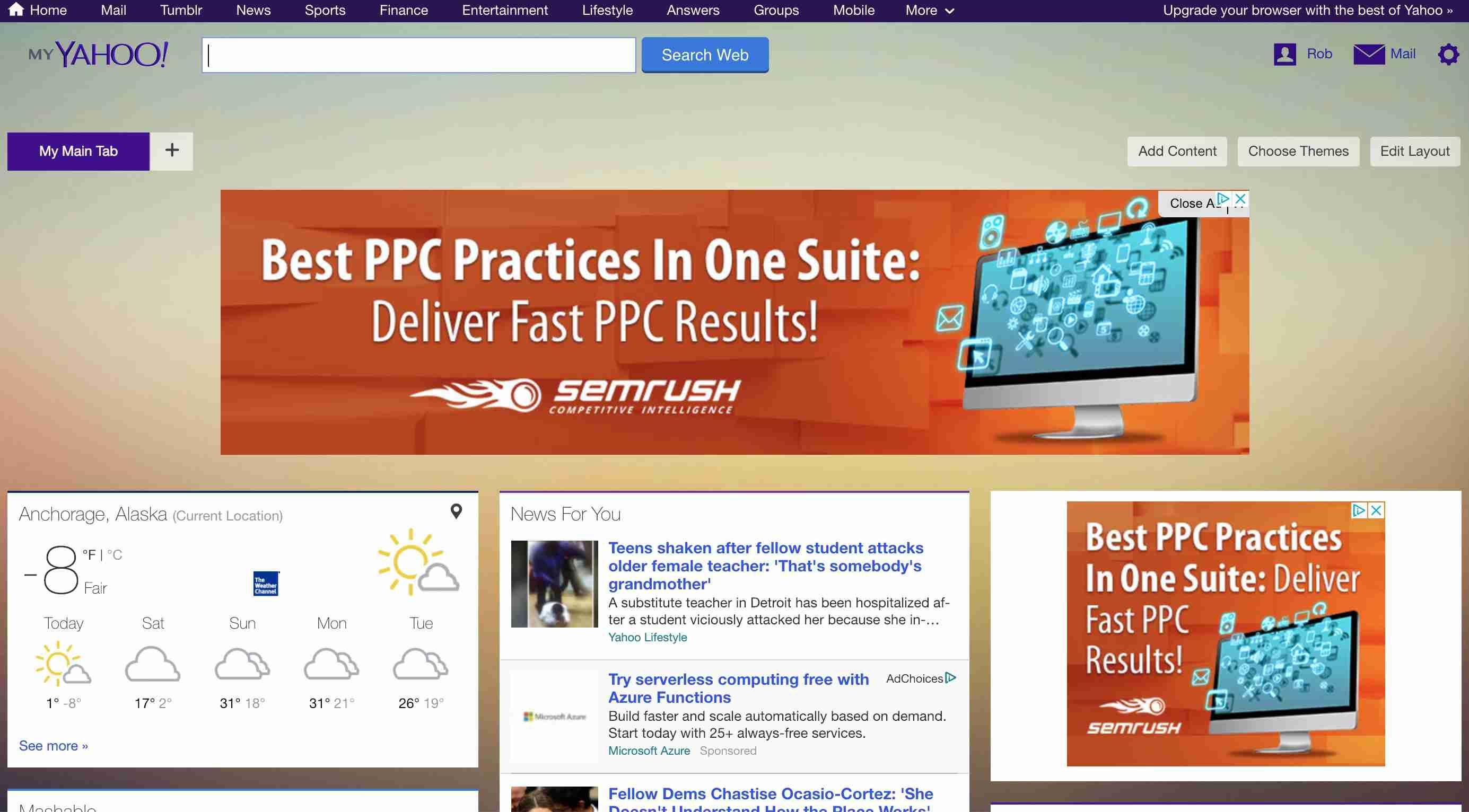My Yahoo page