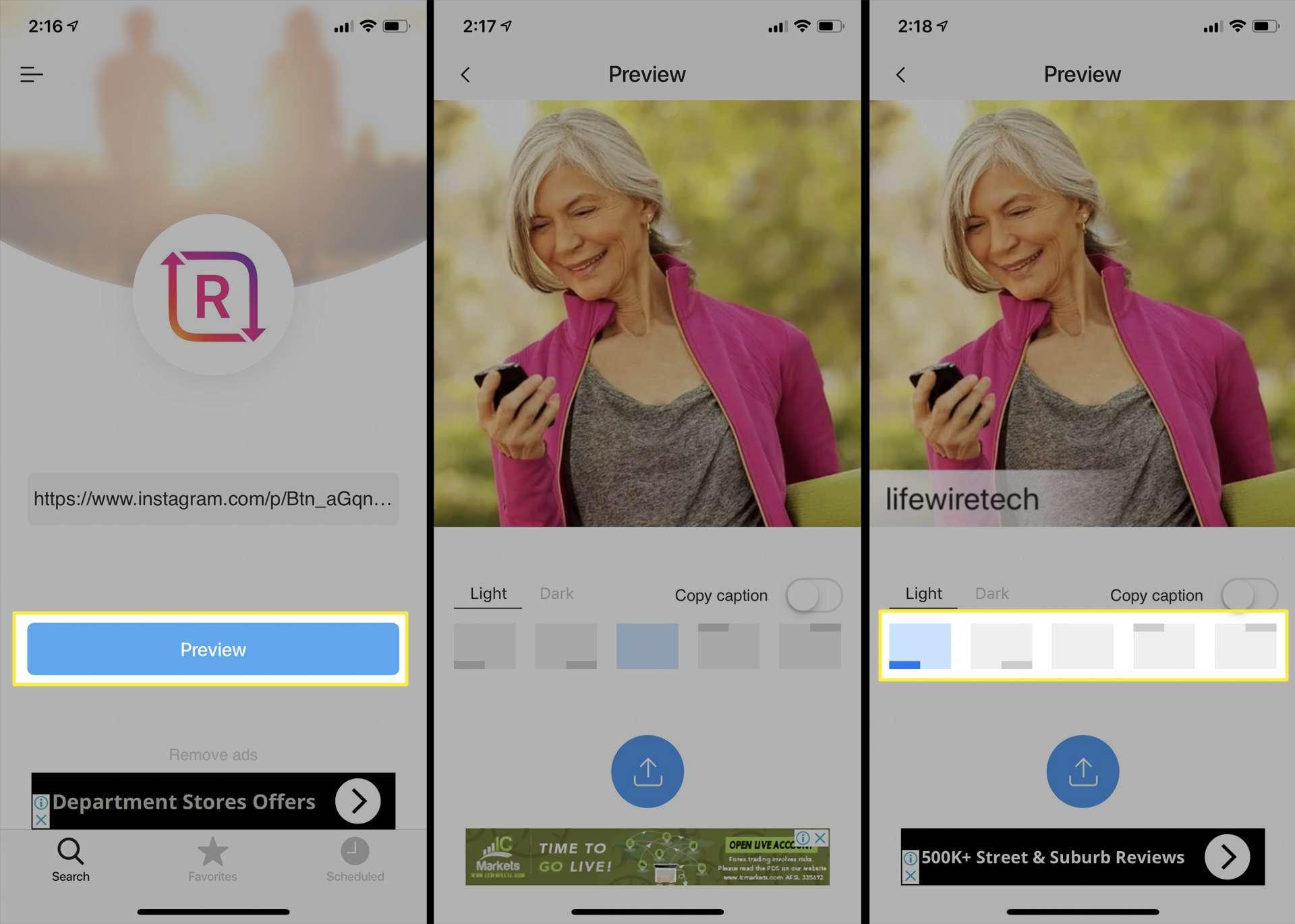 تطبيق Regrammer على iPhone.