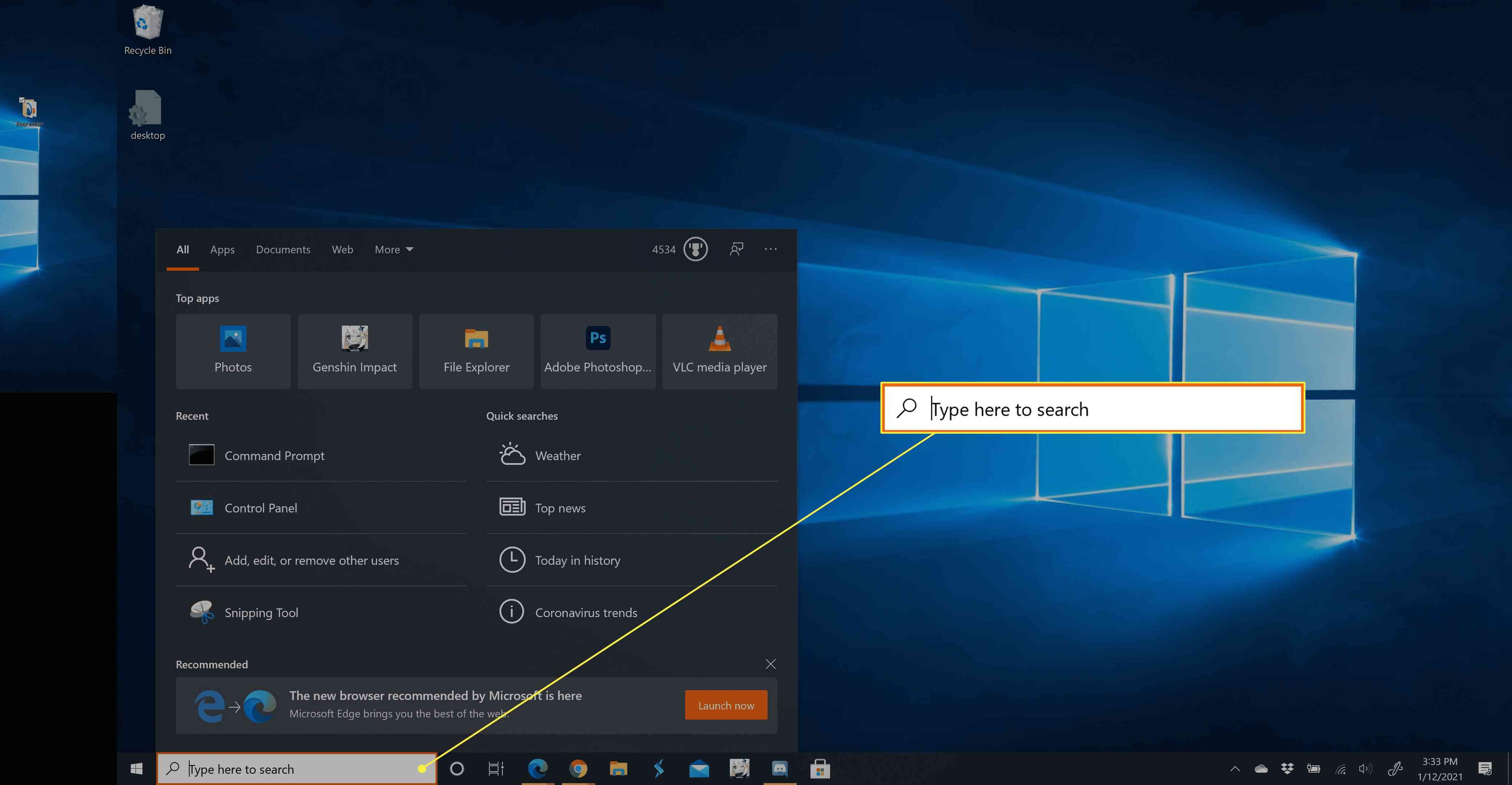 The Windows 10 taskbar search menu.