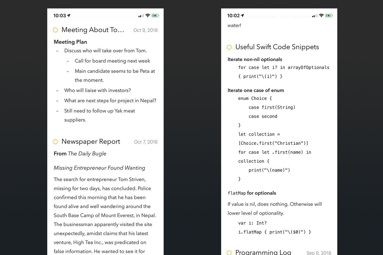 Screenshot of the Agenda app