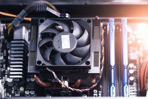 Internal components of a computer, fan, CPU, and power supply