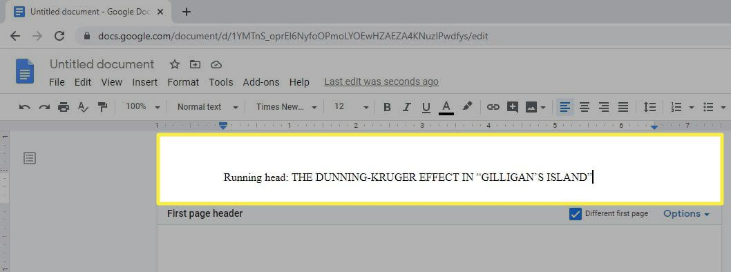 The correct title for an APA paper in the header of a Google Doc.