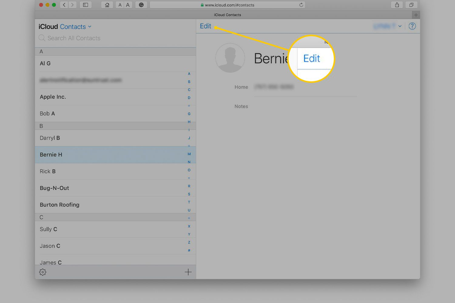 Edit button in Contacts for iCloud