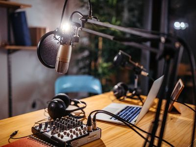 Podcast studio where a high bit rate will improve audio quality