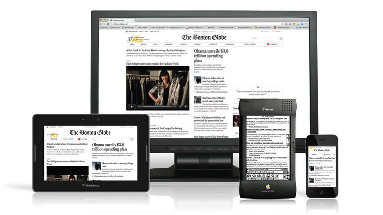 The Boston Globe presented on a tablet, a phone, and a computer