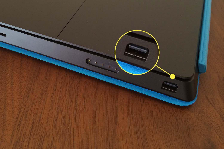 The Mini DisplayPort on a Surface Pro 6.