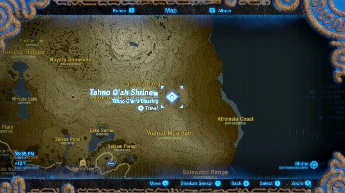 Tahno O'ah Shrine location in Zelda: BOTW