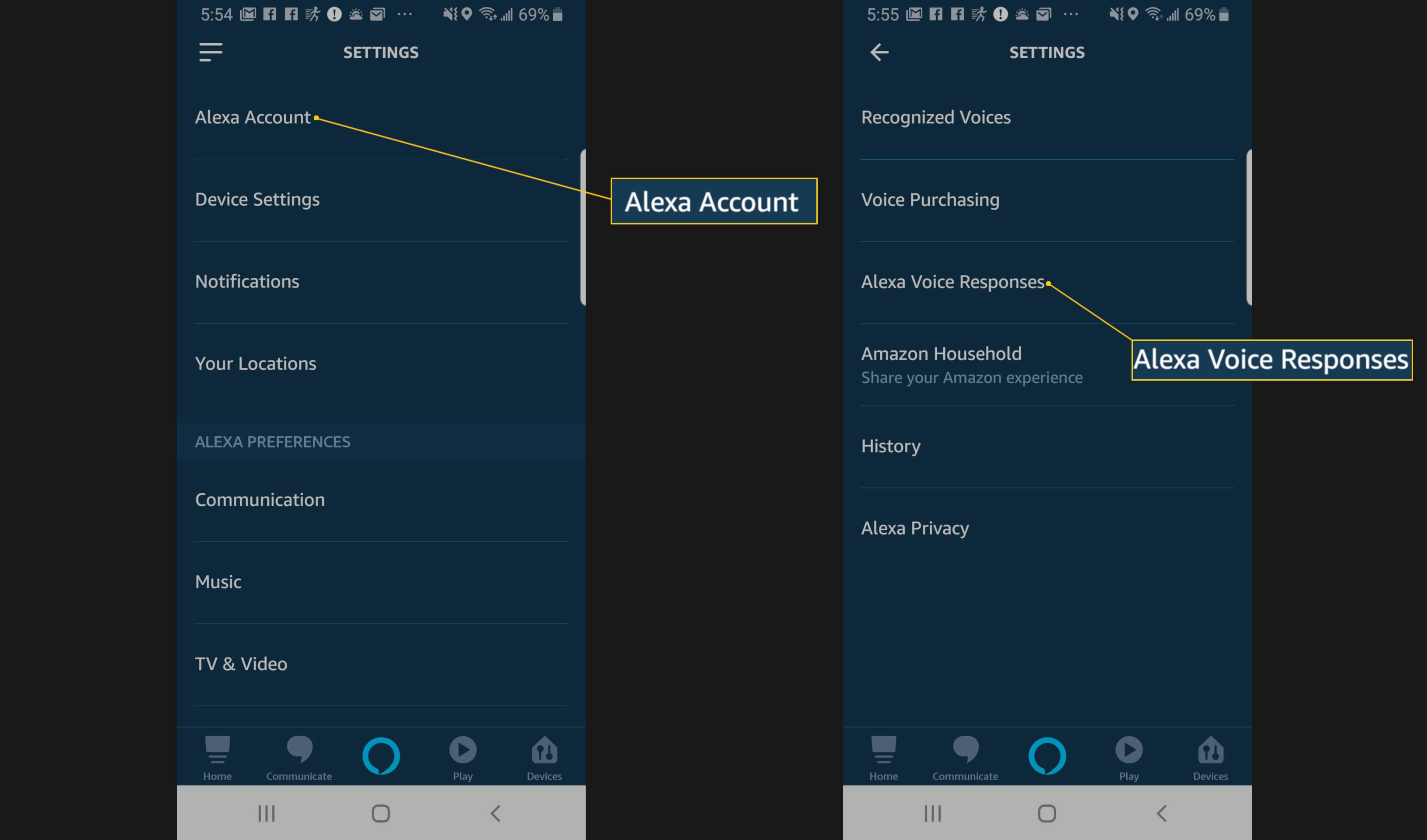 Screenshot of navigating to the Alexa Voice Responses setting.
