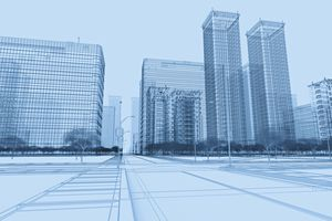 Wireframe buildings in a CG environment