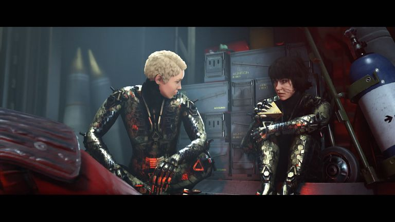 Jess and Soph sit side by side in Wolfenstein: Youngblood for PS4.