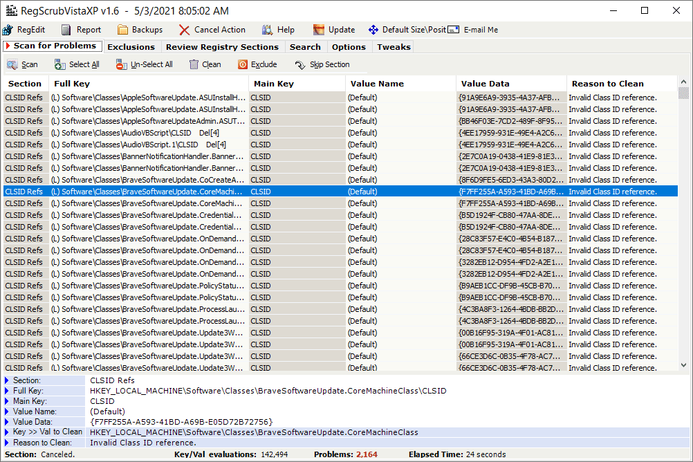 Registry error highlighted in RegScrubVistaXP