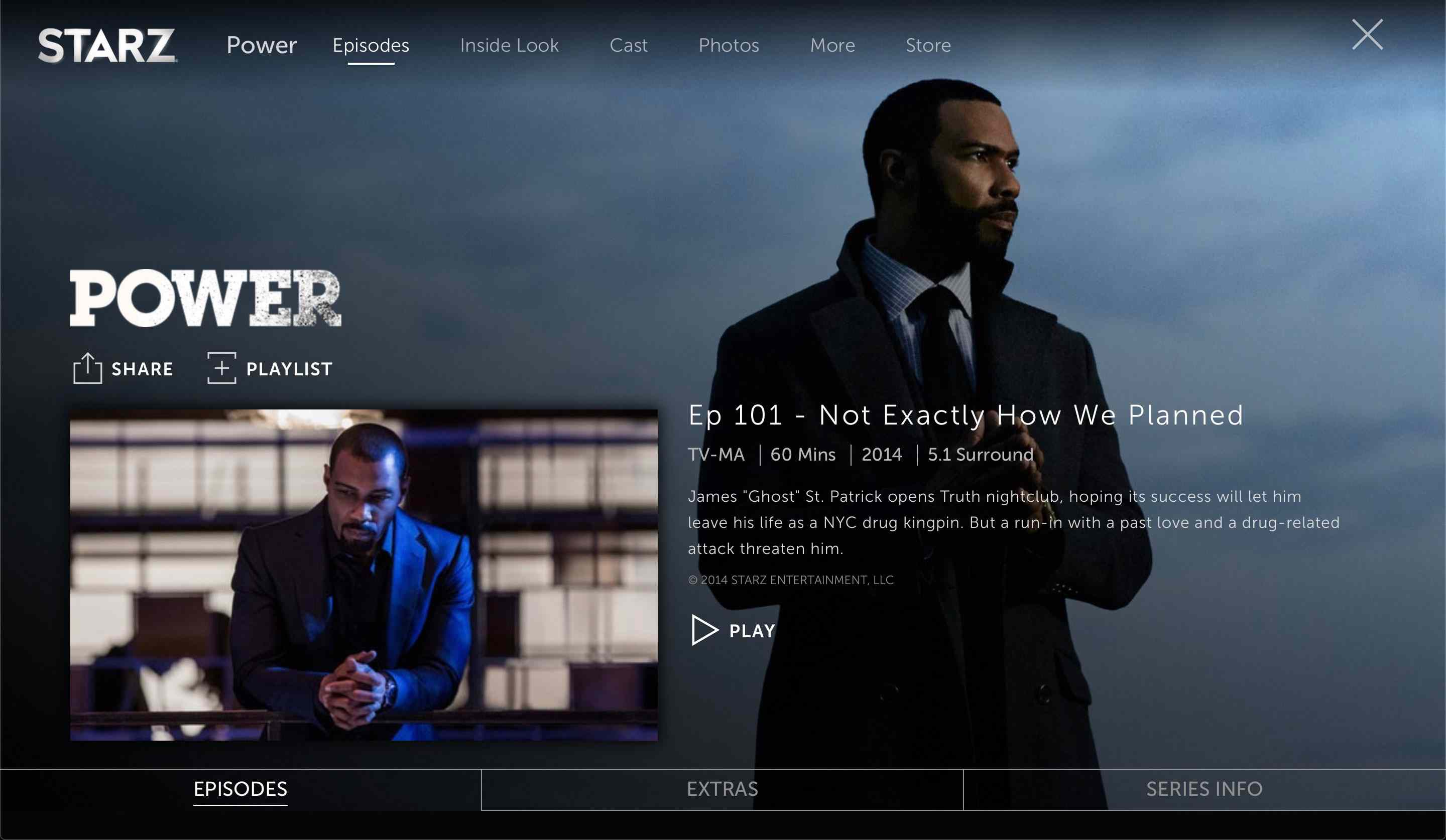 A TV show page on Starz
