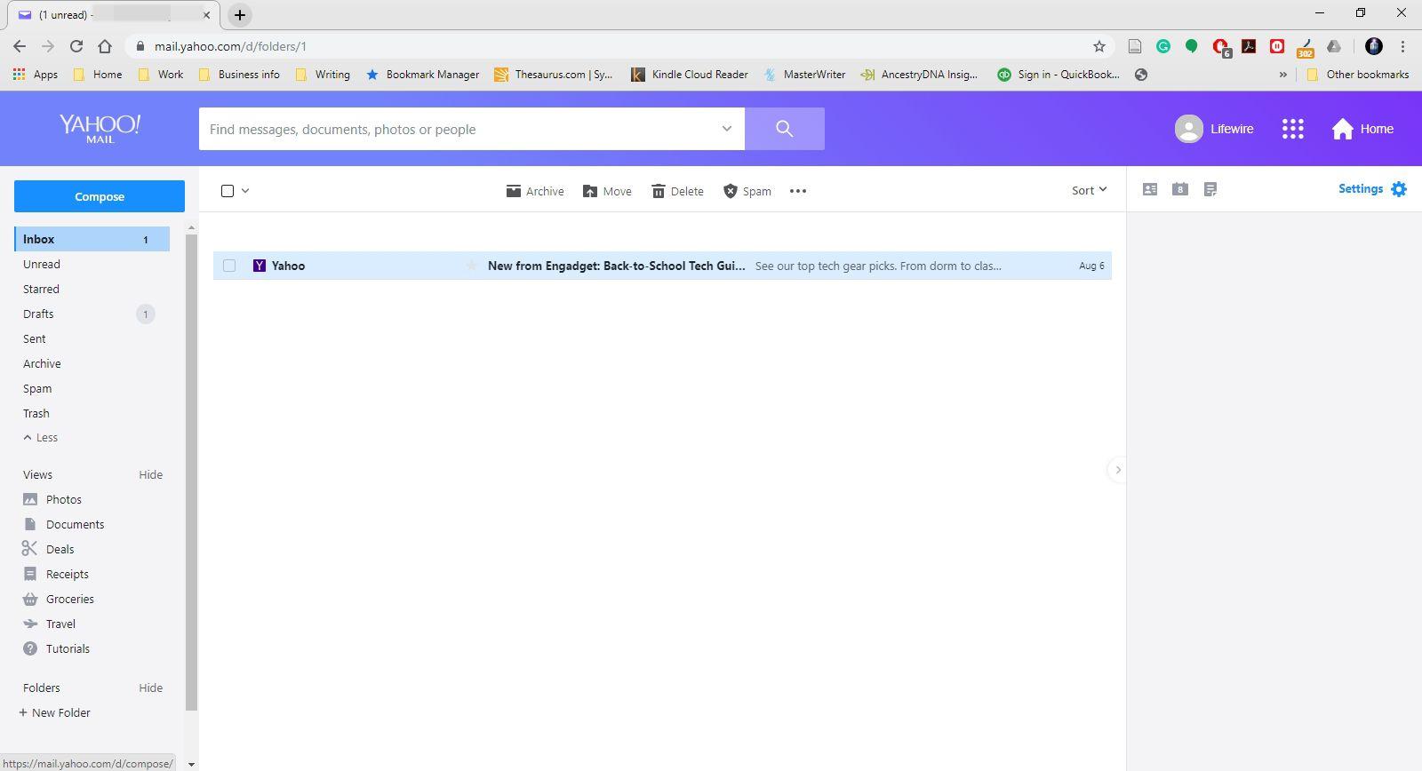 The Yahoo Mail inbox.