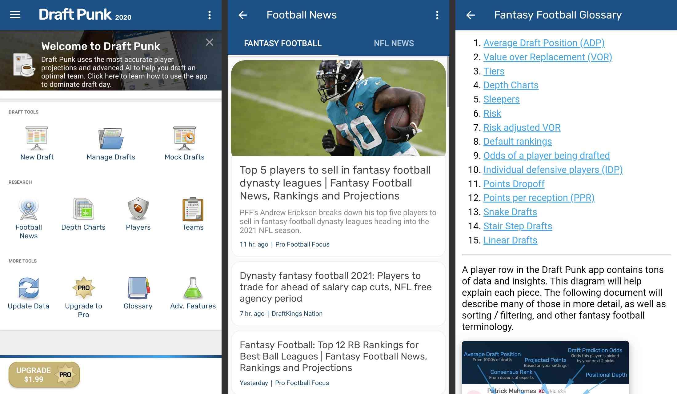 Draft Punk fantasy football app for Android