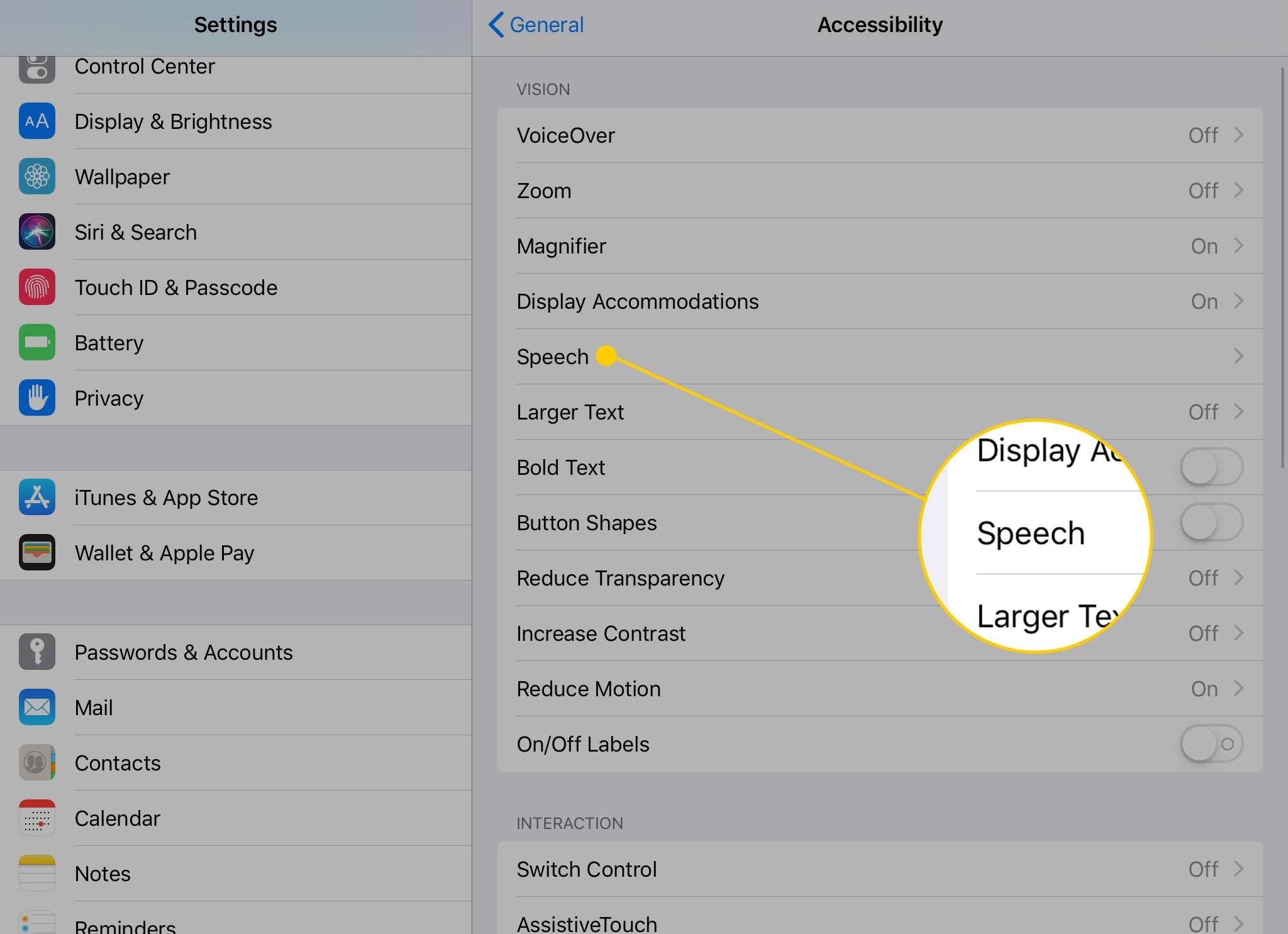 iPad Accessibility options with the Speech item highlighted