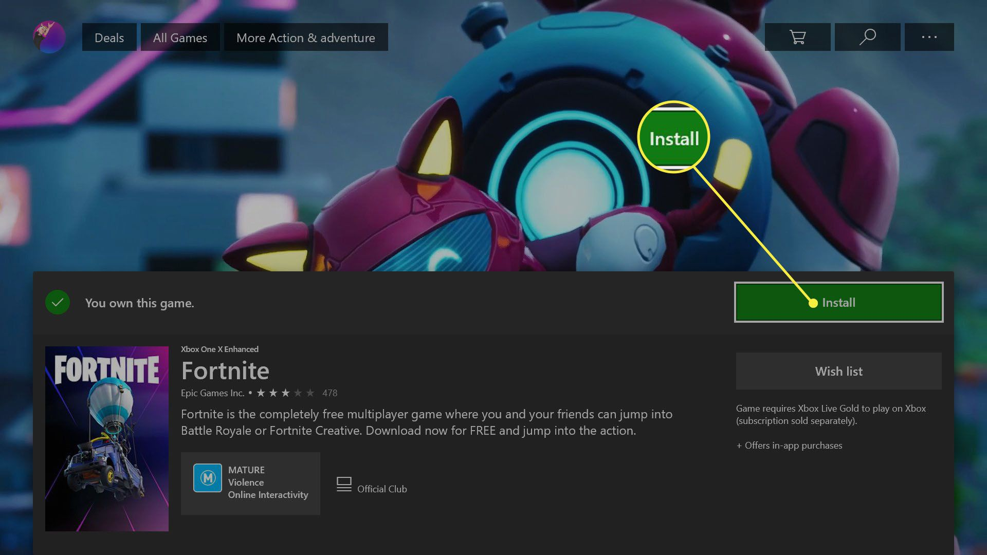 Fortnite video game in the Xbox One console Store.