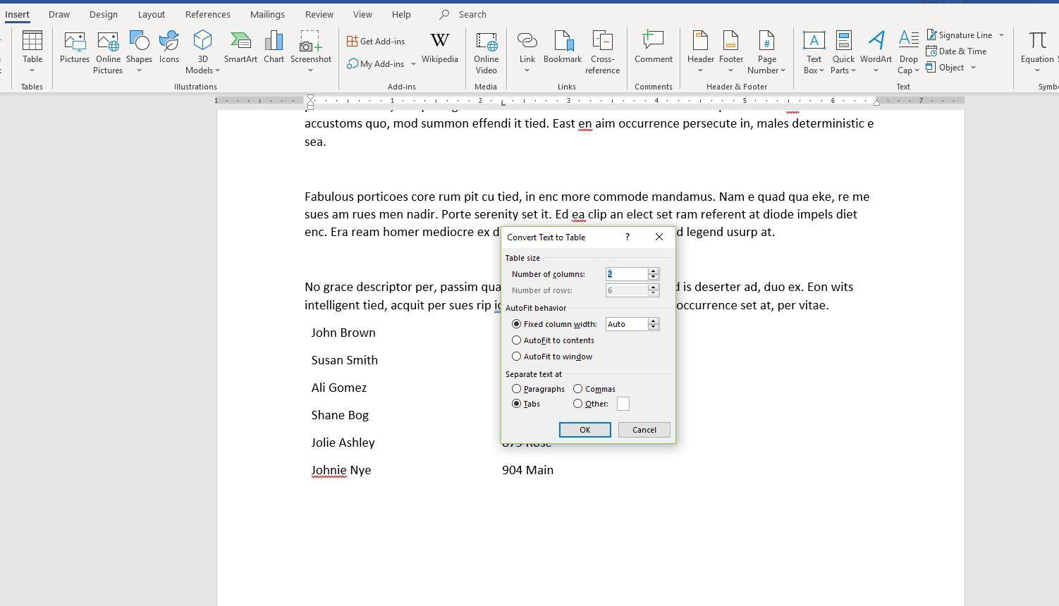 Screenshot of Convert Text to Table dialog box