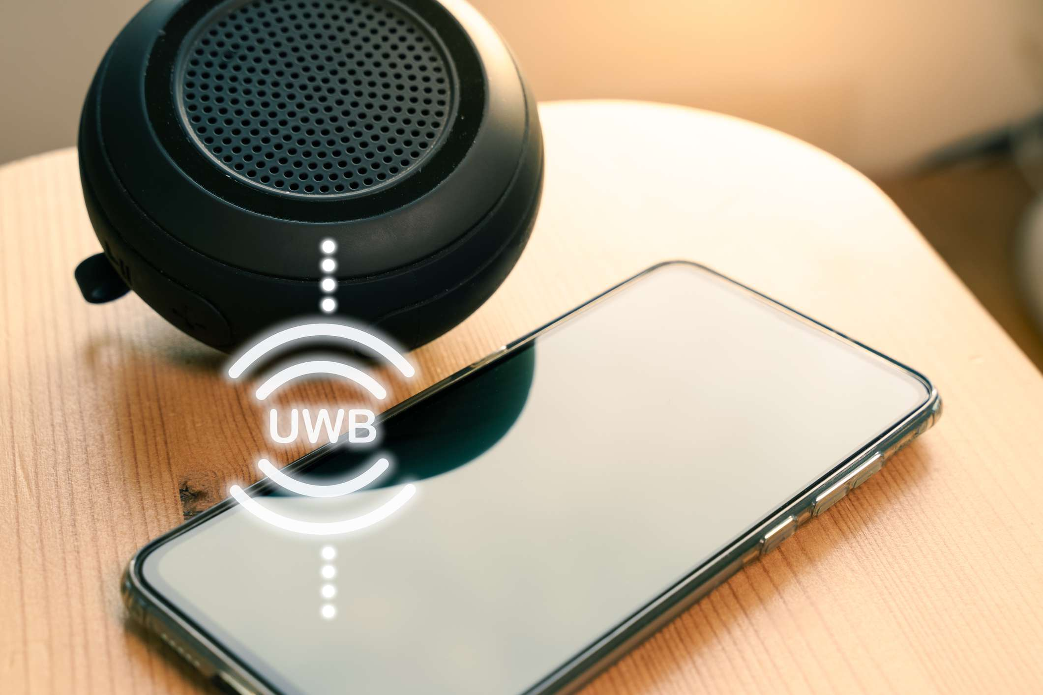 UWB or ultra wideband radio technology speaker connecting to a smartphone