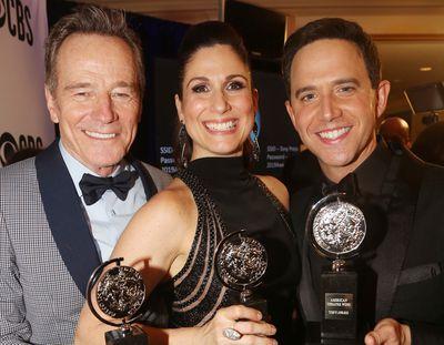 Bryan Cranston, Stephanie J Block, and Santino Fontana at the Tony Awards in 2019.