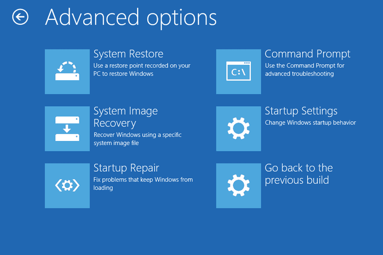 Screenshot of the Advanced Options Menu in Windows 10
