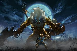 Link faces off against a Golden Lynel