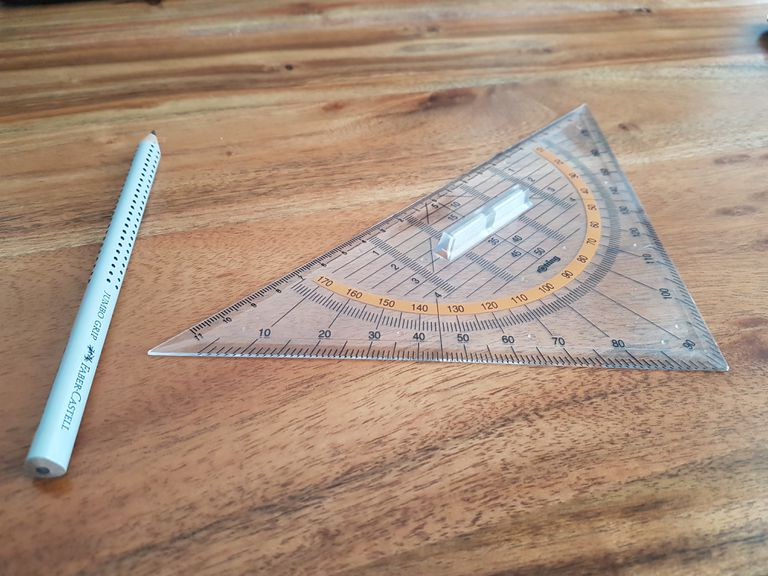 Pencil and triangular ruler