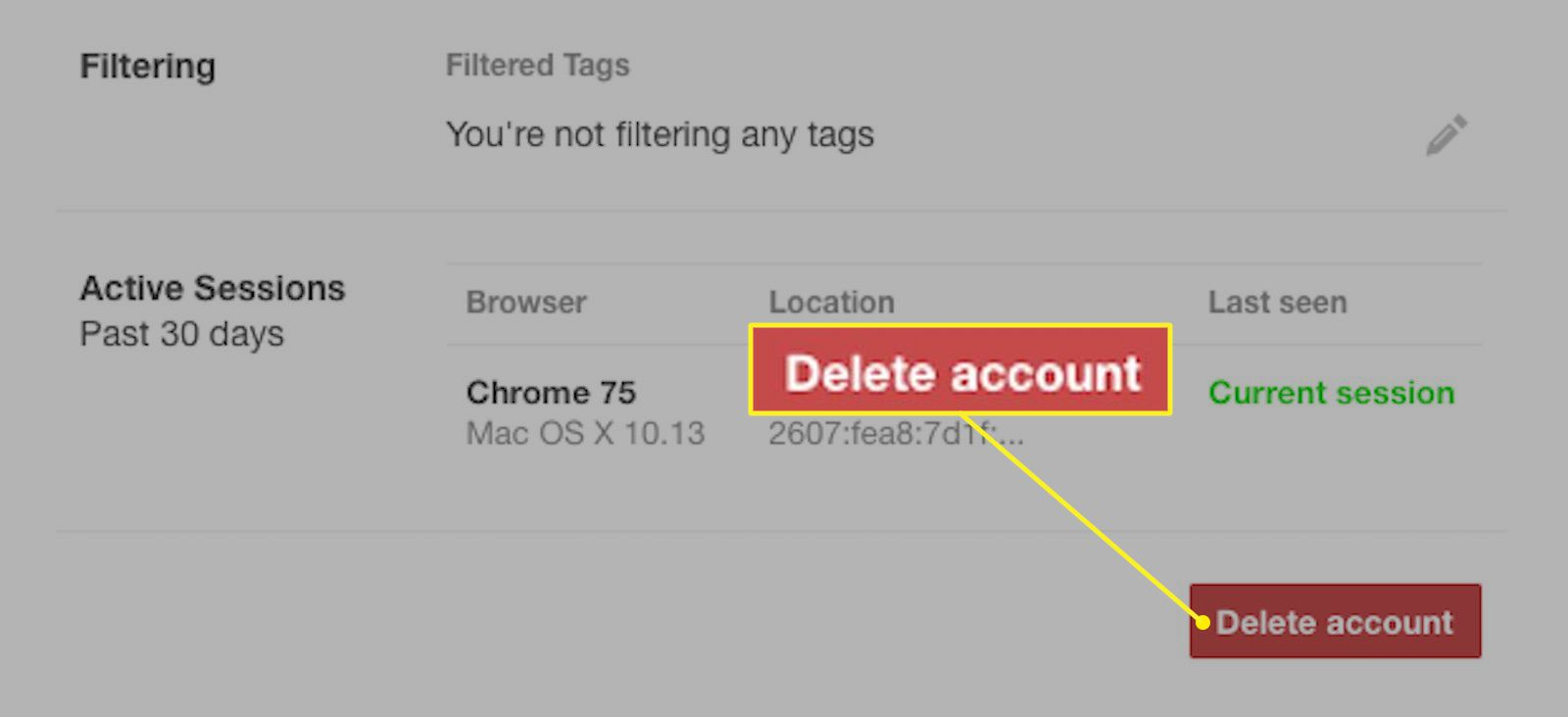 Tumblr.com with Delete account highlighted