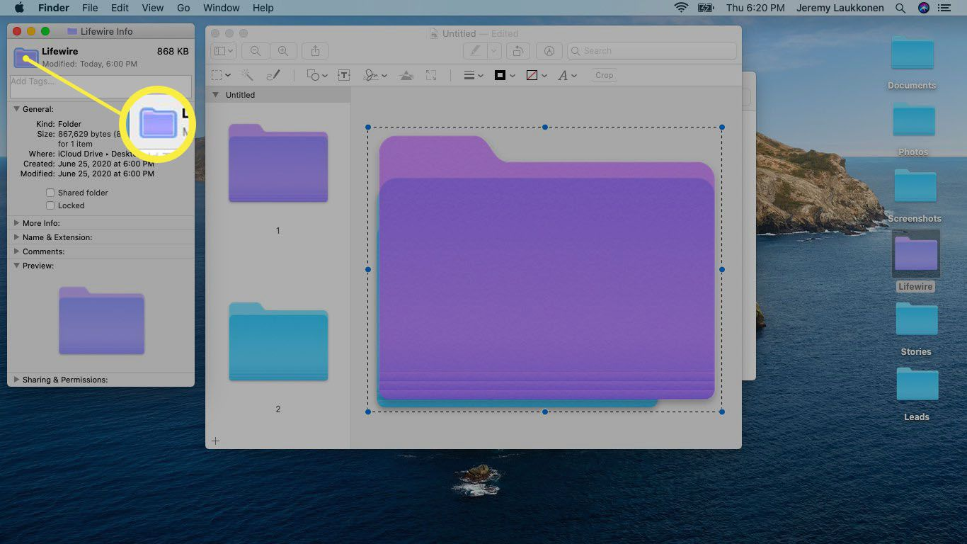 A screenshot of a customized folder color on macOS.