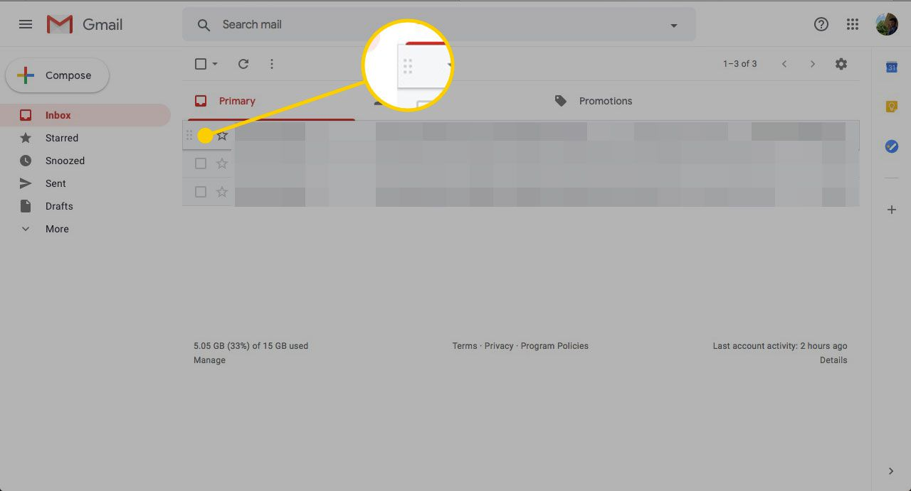 Gmail inbox with message handle highlighted