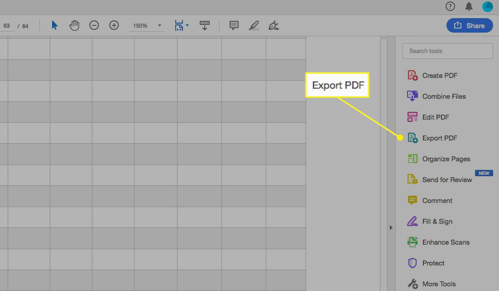 Acrobat Pro DC with Export PDF highlighted