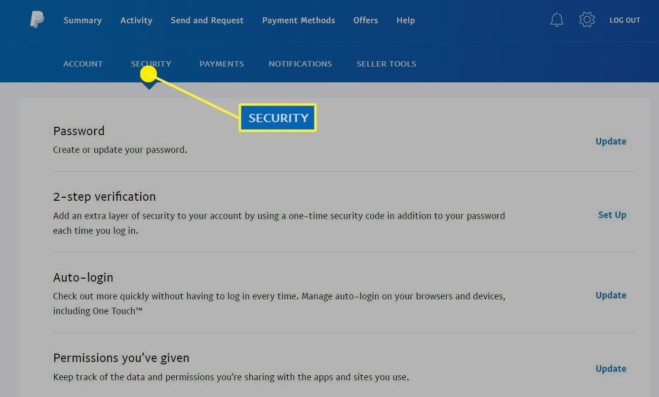 The Security tab in a PayPal account.