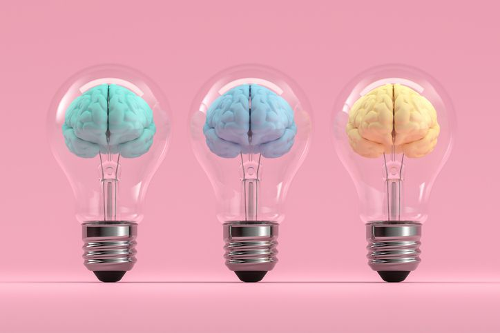 3d rendering of brain inside the light bulb, Creative Idea concept. Brainstorming.