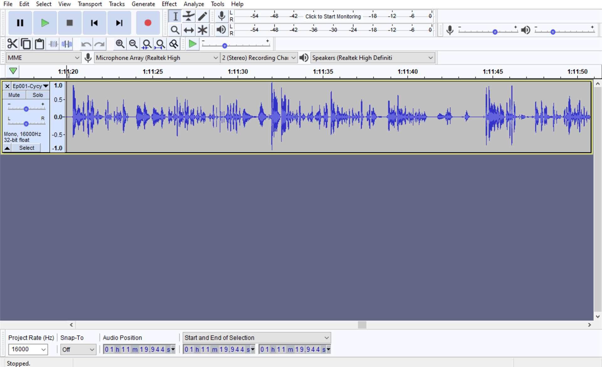 Windows 10 Audacity audio editing app.