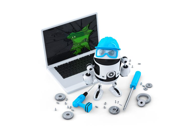 Illustration of a technicial upgrading a laptop