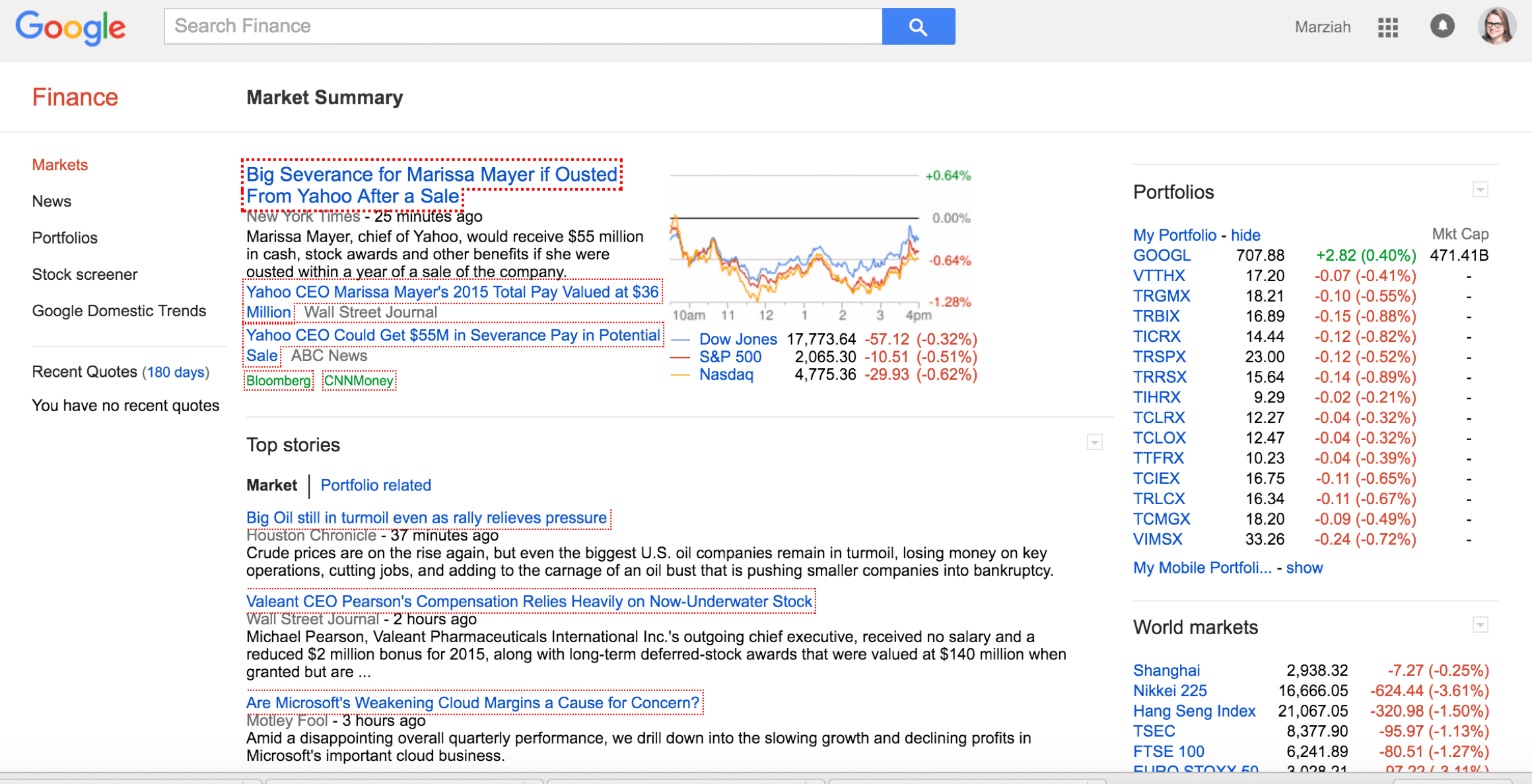 Google Finance Search Example