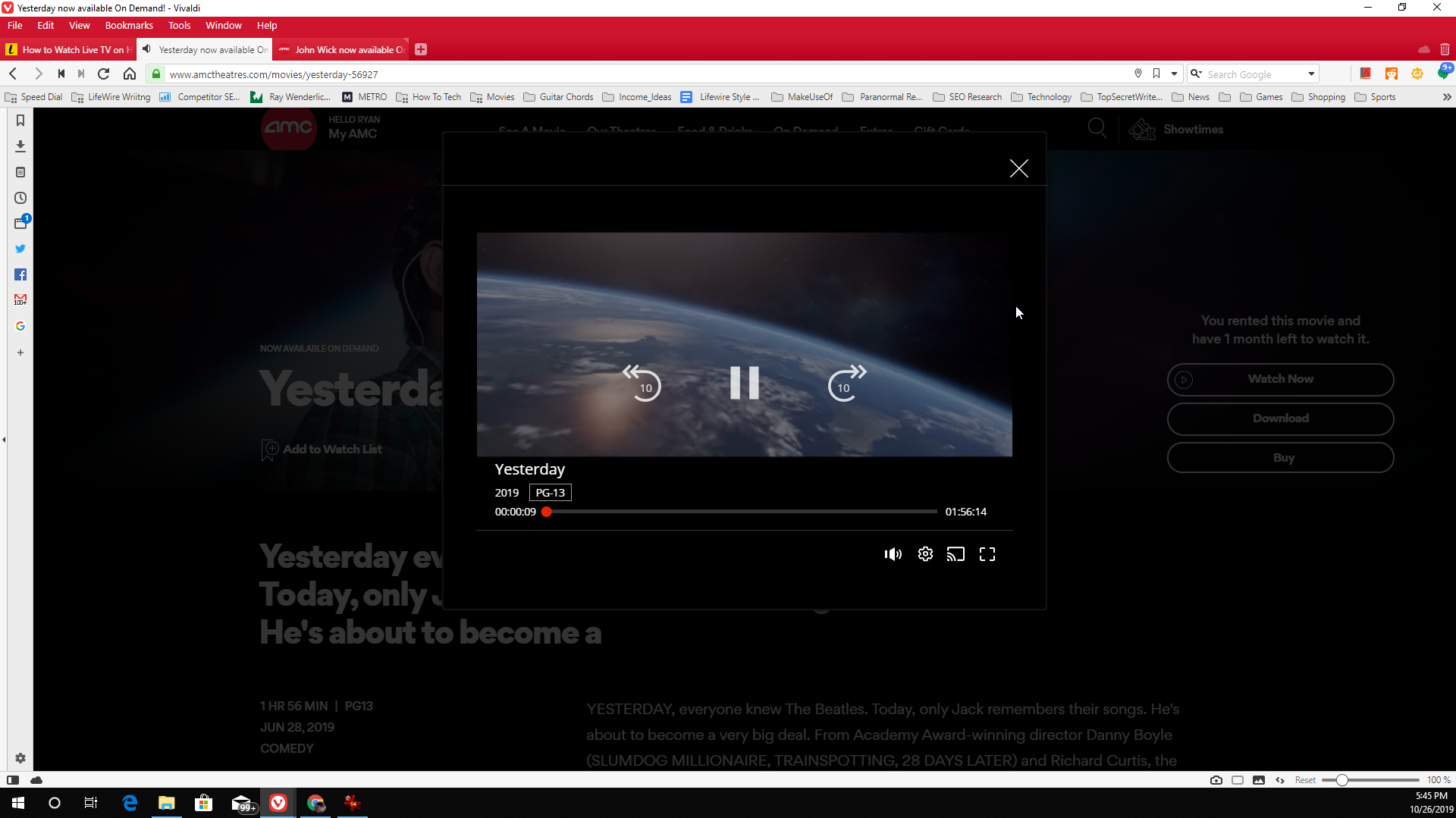 Screenshot of playing an AMC movie in your browser