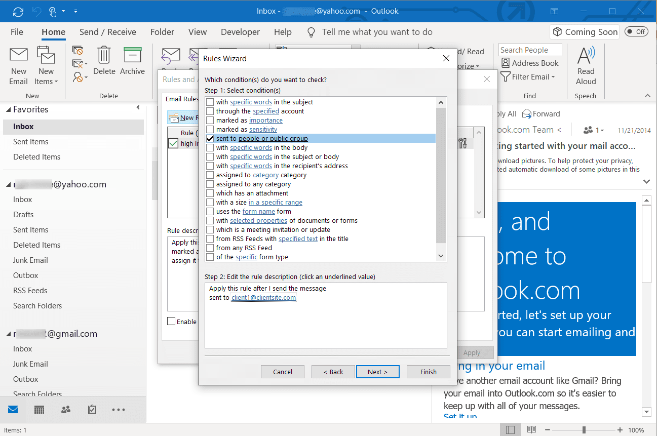 Screenshot of adding people or public group in rules wizard