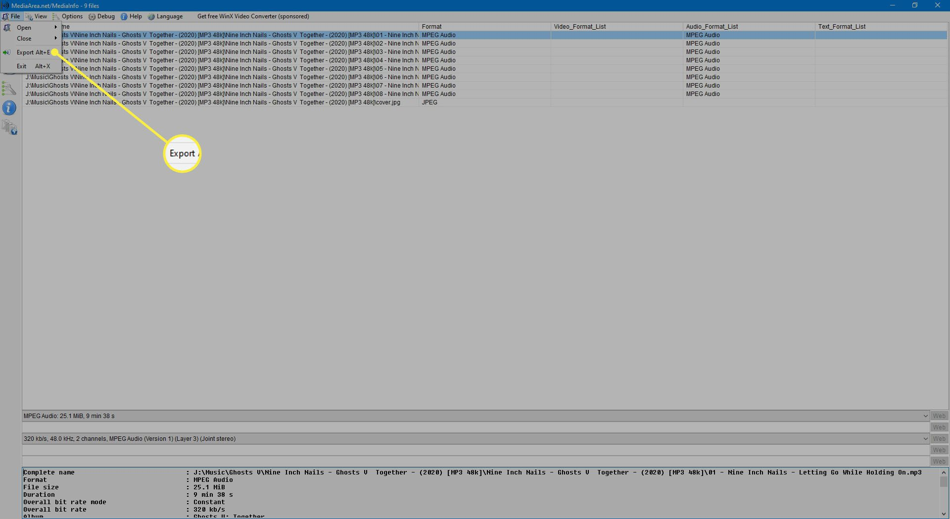 Selecting Export from the File menu.