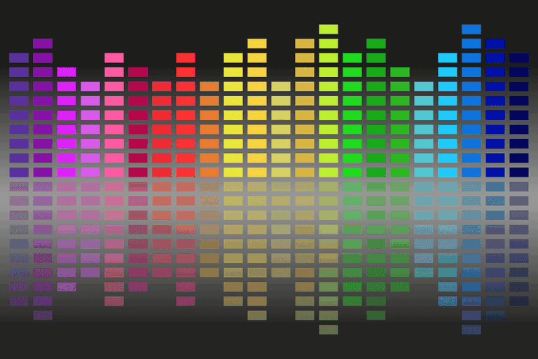 Illustration of sound with varying sizes of colored boxes