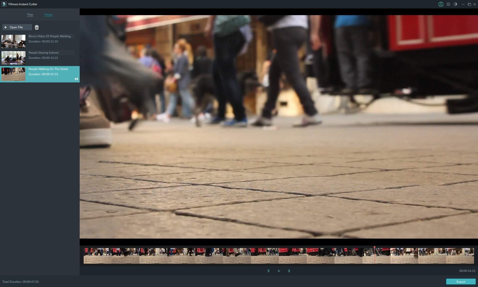 Screenshot of Filmora Instant Cutter video merging interface
