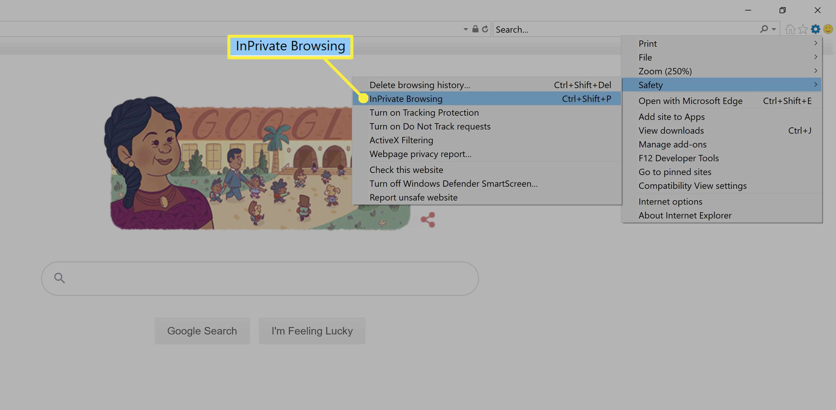 Turning on InPrivate browsing in Internet Explorer.