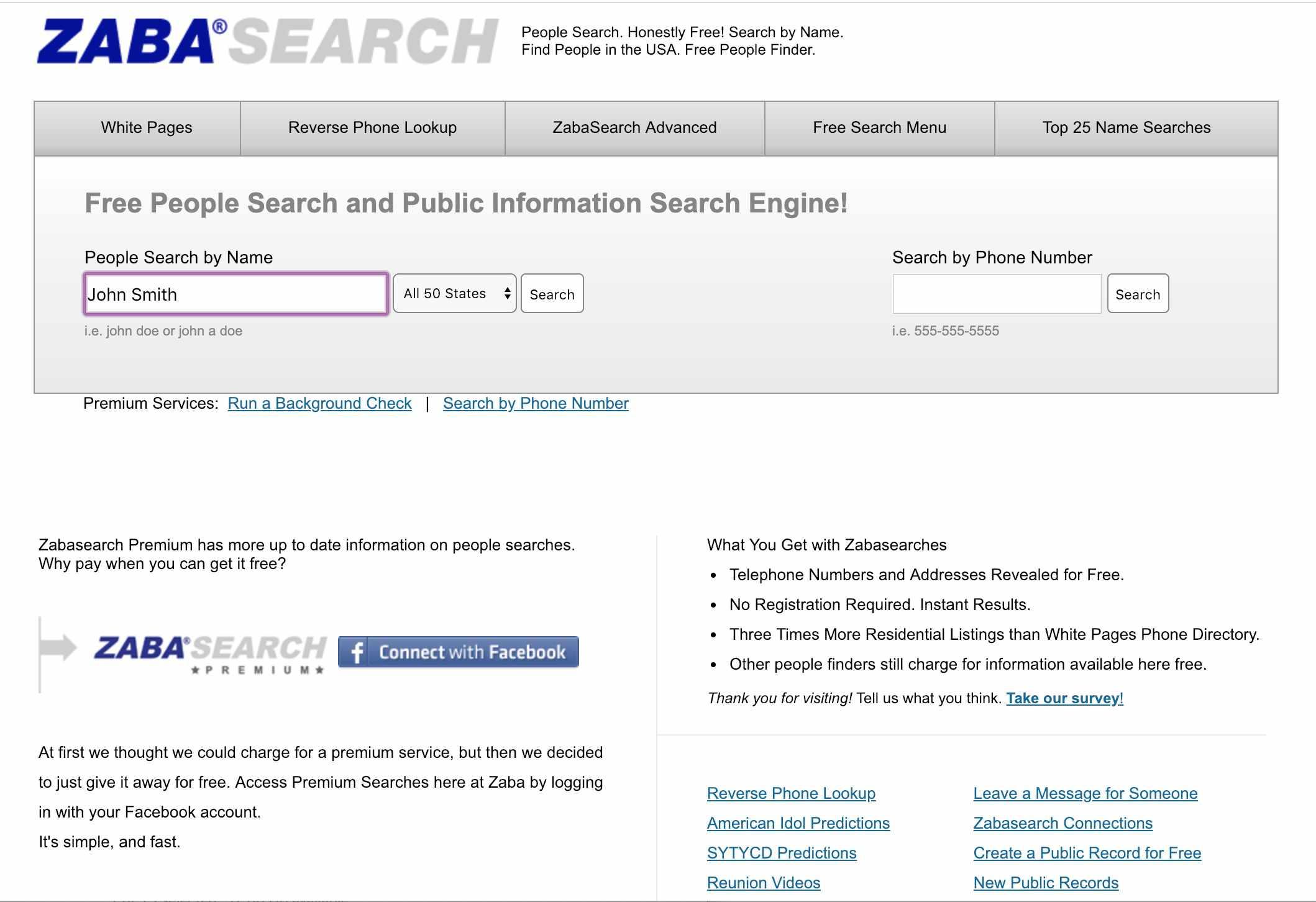 Screenshot of Zaba Search web page