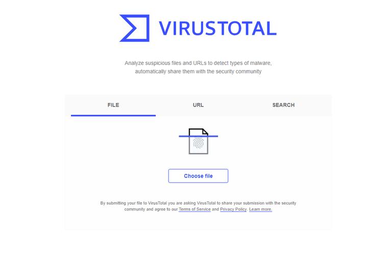 VirusTotal home page