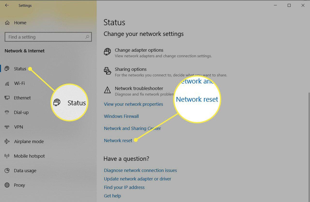 Network reset link in the Network Status window