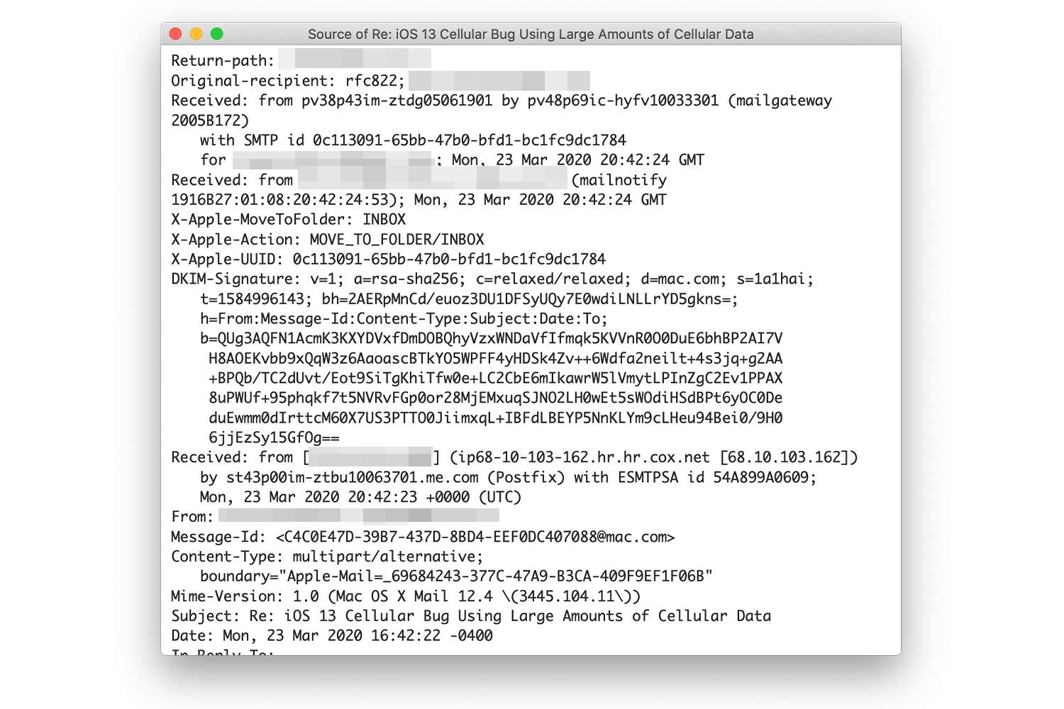 Unformatted headers in Mac Mail email