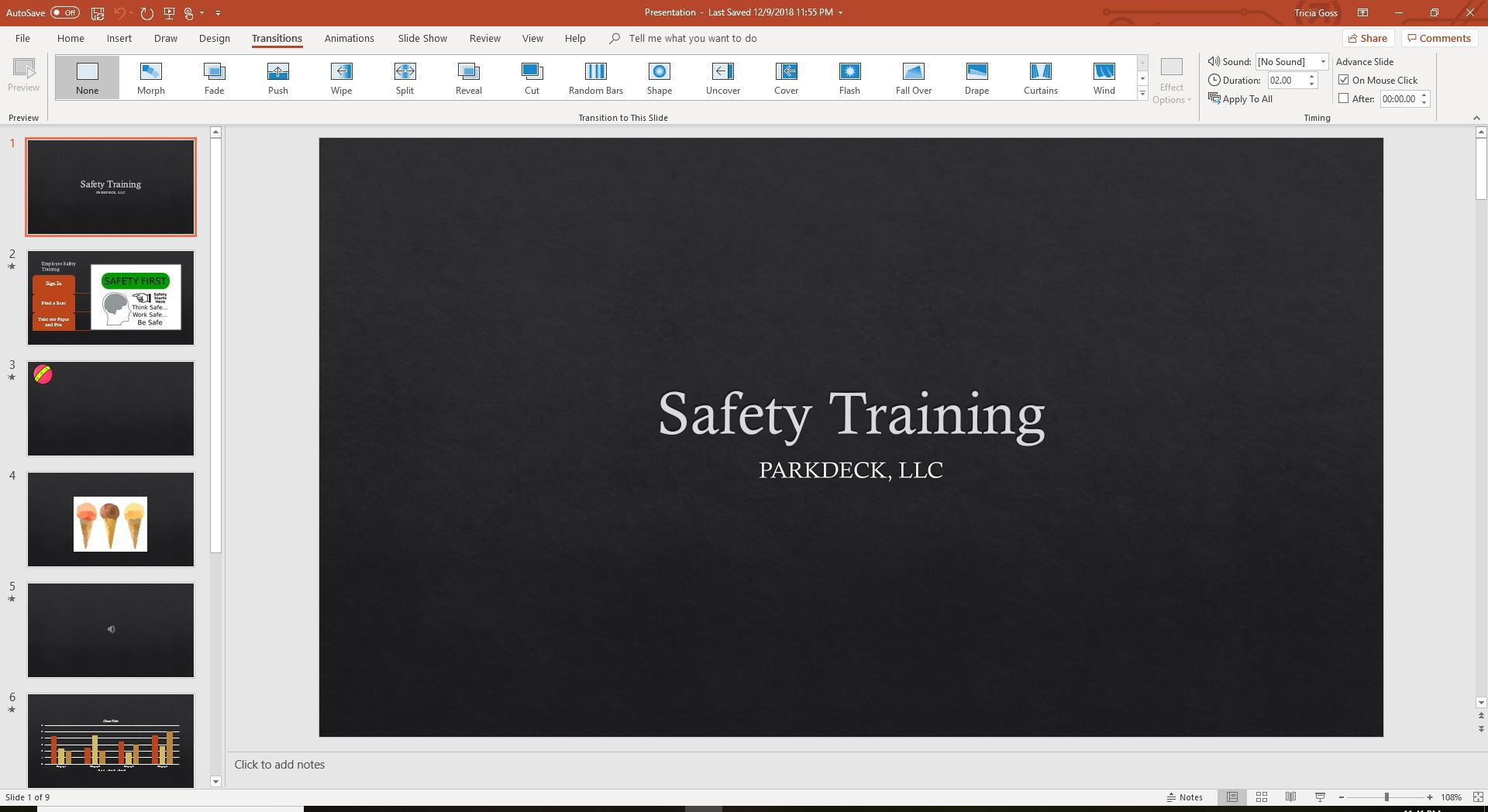 PowerPoint Transitions tab