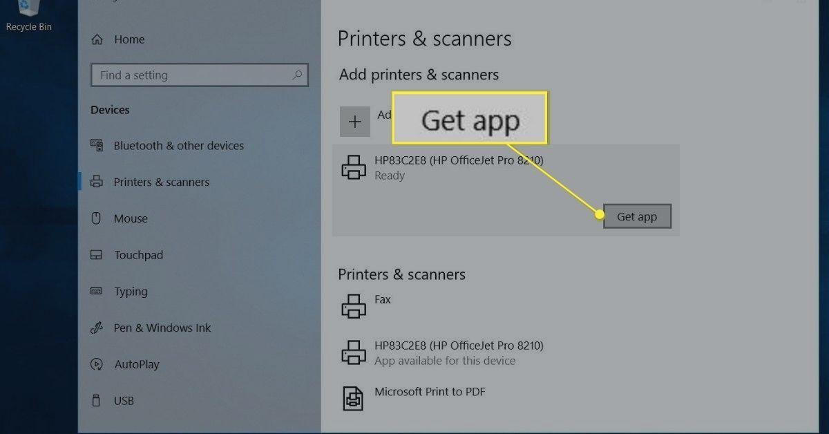 Get app button in Printers & scanner