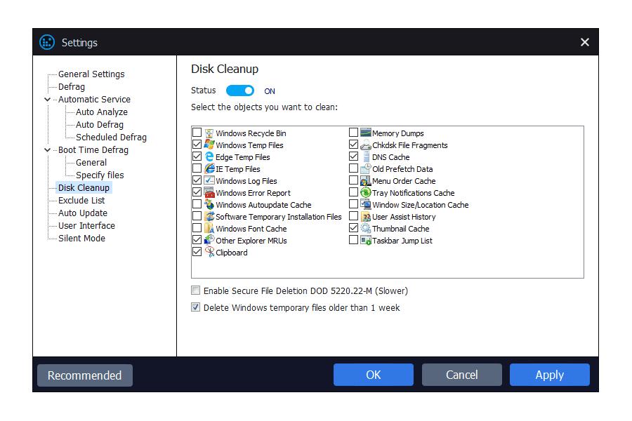 Disk Cleanup settings in Smart Defrag