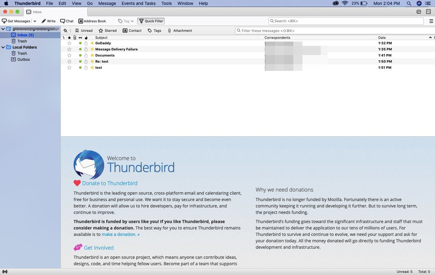 Access GoDaddy Professional email with Thunderbird.